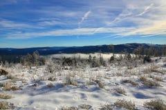 Hill Pancí�, Cloudes and trees, winter landscape in Šumava in Železná Ruda, czech republic Royalty Free Stock Photo
