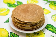 Hill from pancakes on white plate Stock Image
