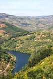 View from Mountains Douro River Rio Douro, Portugal. Hill, Plantation. Douro River Valley. Tourism stock photography