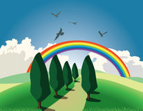 Hill and rainbow. Hill with trees and rainbow Stock Image