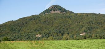 Hill Ralsko, Lusitian mountains, Czech republic. Hill and castle Ralsko in the Lusatian mountains, Northern Bohemia, Czech republic Stock Photo