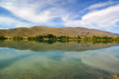 Hill Reflections. Mirror-like reflections of hills near Mt Cook, New Zealand Royalty Free Stock Photo