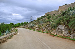 Hill road in Greece. Royalty Free Stock Photos
