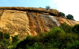 Hill rocks with sky landscape of sittanavasal cave temple complex. Royalty Free Stock Photos