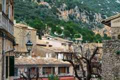 Hill and roofs of houses in Valldemossa, Mallorca side view. Spain. Horizontal Stock Photo