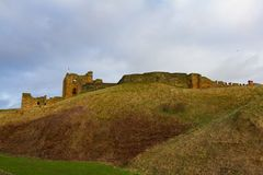 Hill and Ruins of Medieval Tynemouth Priory and Castle, UK. Hill and Ruins of the Medieval Tynemouth Priory and Castle in the United Kingdom Stock Image