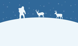 On the hill Santa and reindeer Christmas landscape. Vector art Royalty Free Illustration