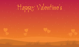 Hill scenery with Valentine backgrounds Stock Images