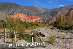 Hill seven colors, Purmamarca, Jujuy, Argentina. View of the hill 7 colors in the town of Purmamarca located in the Quebrada de Humahuaca, Jujuy, Argentina Stock Photography