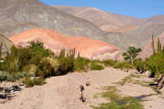 Hill of seven colors in Salta, Argentina. royalty free stock photography