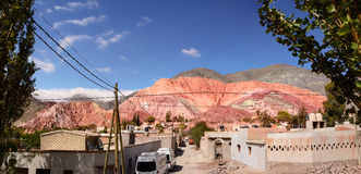 Hill of seven colours in Purmamarca Argentina stock photo