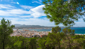 Hill side view of the city - St Antoni de Portmany, Ibiza, on a clearing day in November, kindly warm breeze in autumn,  Balearic Royalty Free Stock Photos