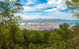 Hill side view of St Antoni de Portmany, Ibiza, on a clearing day in November, kindly warm breeze in autumn,  Balearic Islands, Sp Stock Photography
