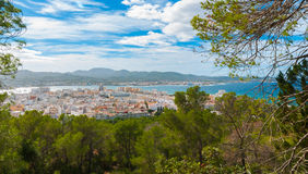 Hill side view of St Antoni de Portmany, Ibiza, on a clearing day in November, kindly warm breeze in autumn,  Balearic Islands, Sp Stock Image