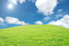 Hill and Sky. Green hill surrounded by a beautiful blue sky and puffy clouds Royalty Free Stock Images