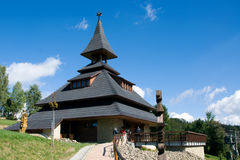 HILL SOLAN, MORAVIAN BESKYDY MOUNTAINS, CZECH REPUBLIC, SEPTEMBER 2011 - New modern belfry on the hill Solan Royalty Free Stock Photo