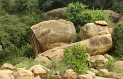 Hill stone balls of sittanavasal cave temple complex. Royalty Free Stock Photography
