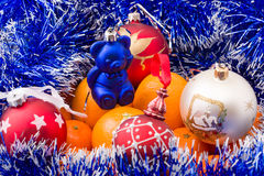 Hill surrounded by tangerine blue garland Royalty Free Stock Photo