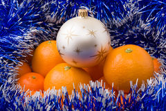 Hill surrounded by tangerine blue garland Stock Photos