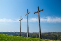 Hill of the Three Crosses in Kazimierz Dolny. Hill of the Three Crosses in Kazimierz Dolny, Poland Royalty Free Stock Images