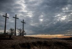 Hill of three crosses. Hill in Kazimierz dolny witch three crosses at sunset Royalty Free Stock Photos