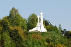 The Hill of Three Crosses in Vilnius seen from Gediminas hill. Royalty Free Stock Images