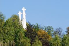 The Hill of Three Crosses in Vilnius seen from Gediminas hill. Stock Photography