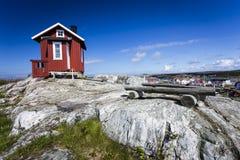 Hill top cottage at Vrango. Of Bohuslan Coast, Sweden royalty free stock image