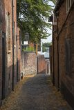 Hill Top in Coventry. An old-fashioned looking alleyway leading to Hill Top, in the historic city centre of Coventry, UK stock photography