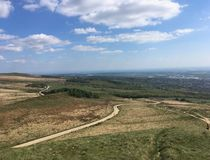 Hill Top Few Clouds Blue sky Big View. Top of hill blue sky sunny day few clouds on a summers day royalty free stock photos