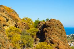 Hill top with rocky surface on hiking trail near Kemer, Turkey Royalty Free Stock Image