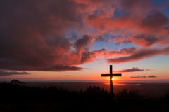 Hill Top Sunset Cross Stock Photography