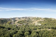 Hill top view of Almunecar. Landscape image from the hill top looking out at Almunecar spain stock photos
