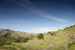Hill top view of Almunecar. Landscape image from the hill top looking out at Almunecar spain royalty free stock image
