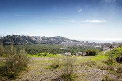 Hill top view of Almunecar. Landscape image from the hill top looking out at Almunecar spain royalty free stock images