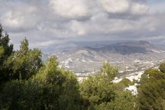 Hill top view of Almunecar. Landscape image from the hill top looking out at Almunecar spain royalty free stock photo