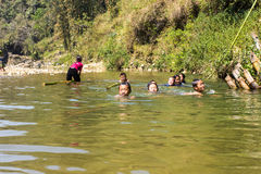 Hill Tribe children playing at river in cat cat village,Sapa Vietnam Stock Photo