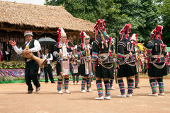Hill tribe dancing in Akha Swing Festival. Royalty Free Stock Image