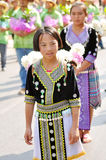 Hill tribe girl. In flower festival parade, Chiangmai, Thailand royalty free stock images