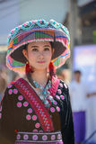 Hill Tribe girl with local traditional costume in parade. CHIANGMAI, THAILAND - JANUARY 25, 2015: Hill Indigenous girl with local traditional costume in parade stock images