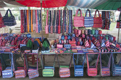 Hill tribe handicrafts. For sale in Mae Hong Son, Northern Thailand stock photography
