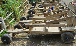 Hill tribe racing 4 wheel. Wooden cart Stock Image