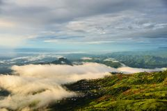 Hill tribe village. Located in middle of the mist in Phu Thap Boek mountain Stock Photos