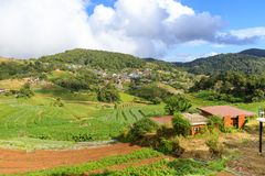 Hill tribe village on mountain in Mae Rim, Chiang Mai, north of Thailand.  stock images