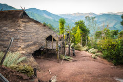 Hill tribe village. In thailand stock images
