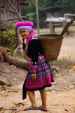 Hill tribe woman portrait. Beautiful hill tribe woman portrait full costume dress happy smile smart royalty free stock images