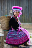 Hill tribe woman portrait. Beautiful hill tribe woman portrait full costume dress happy smile smart royalty free stock photo