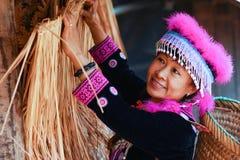Hill tribe woman portrait. Beautiful hill tribe woman portrait full costume dress happy smile smart stock photo