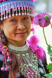 Hill tribe woman portrait. Beautiful hill tribe woman portrait full costume dress happy smile smart royalty free stock image