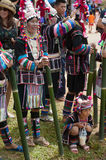 Hill tribe woman waiting dancing in Akha Swing Festival. Stock Photos